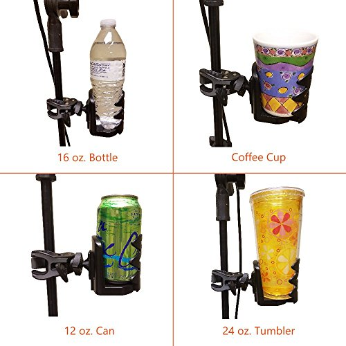 Crescendo CR-25 Drink Bottle Holder - Cup Caddy - Water, Other Beverage - Mount Clamp Accessory for Mic Stand, Handle Bar, Pole, Music or Microphone Boom Stand