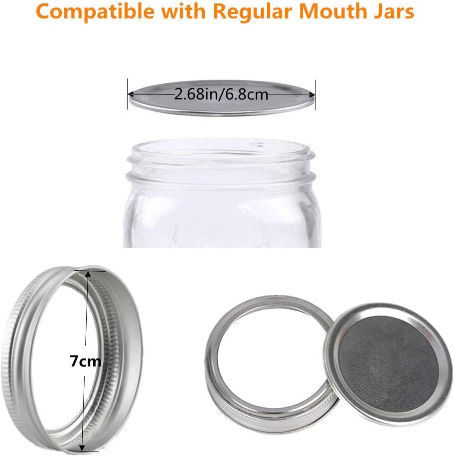 Canning Lids Regular Mouth Set of 24 Splendid Mart Regular Canning Jar Lids with Bands for Mason Jars Split-Type Lids Leak Proof Canning Supplies Lids Metal Caps