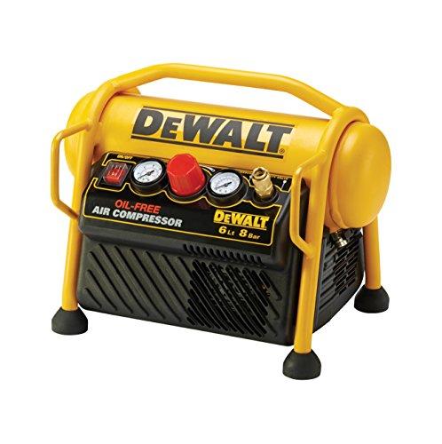 DeWalt mobiler Kompressor (1100 W, 6 L, 8 bar, kompakte Ausführung, ölfreier Motor, inkl. 5 m Luftschlauch) DPC6MRC