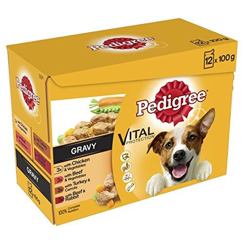 Pedigree Echtes Mahlzeiten Fleisch und Gemüse in Gravy Hunde Nassfutter Sortimentpackung - 12x100g