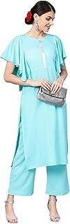 Ziyaa Women's Sky Blue Color Solid Straight Crepe Kurta With Palazzo / Salwar Suit Set