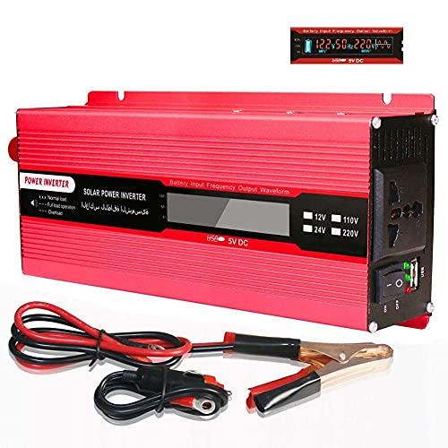 Inversor de Corriente de 2000W DC 12V a AC Outlet 110V 220V Outlet Pinza de cocodrilo Compatible con la batería en el automóvil 1 Tomacorrientes de CA Pantalla LED y USB Potencia máxima 4000 Watt