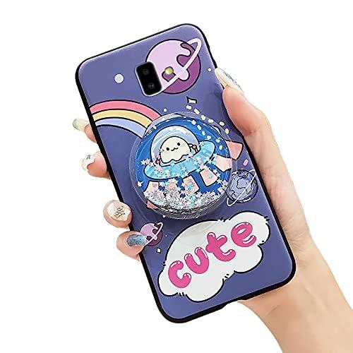 Funda de teléfono para Samsung Galaxy J6 Plus/J6 Prime/J610/J6+, diseño de dibujos animados de juguete brillante suave que reduce el estrés flexible TPU funda duradera para niñas funcional, azul OVNI