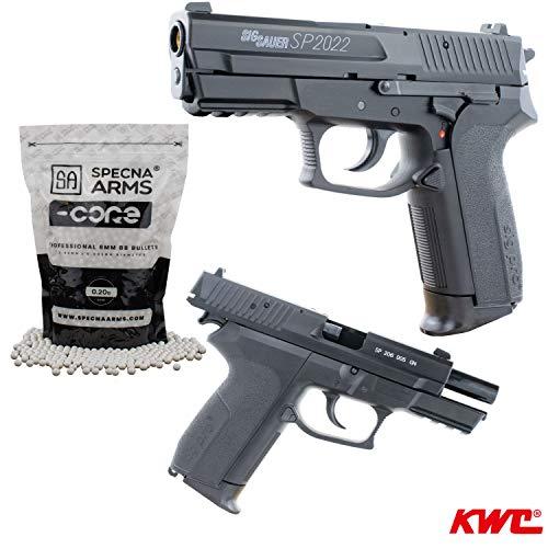 Softair Pistole SIG SAUER SP2022 mit Schlittenfang HPA-Serie BAX-System Kal. 6mm BB <0,5 Joule inklusive 2500 0,20g Specna Arms BBS