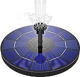 Karsa Fuente solar de 3,5 W, panel solar de 180 mm de diámetro, bomba de agua con batería de 1500 mAh integrada, 6 tipos de fuentes, adecuada para jardines y baños de pájaros.