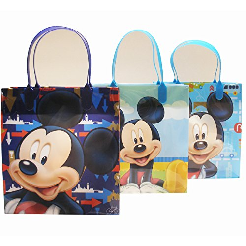 """Disney Mickey Mouse Party Favor Goody Gift Bags - 8"""" Medium Size (12 Bags)"""