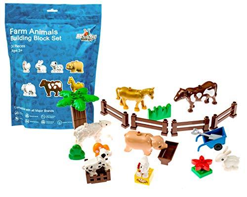 Juego de bloques de construcción de bloques grandes animales de granja (24 piezas), animales de granja, incluye una vaca, caballo, oveja, cerdo, perro, pollo, conejo, cercas y más