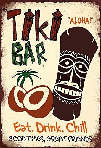FS Barschild Tiki Bar Hawaii Aloha Blechschild Schild gewölbt Metal Sign 20 x 30 cm