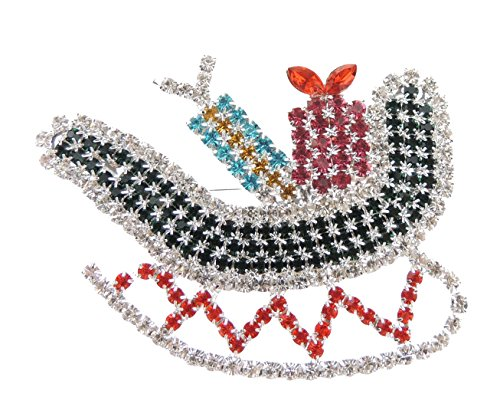 Glamour Girlz Dames Extra Sparkly Grote Diamante Kristal Kerstmis Lapel Broche Pin Kerstman Slee Presenten