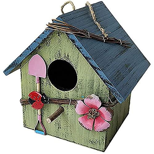 OMVOVSO Casas de Aves de Madera, Patio Villa Balcón Colgando Rainfest Birdhouses Madera Jardín Pájaros Aparatos de Intemperie Pájaros Naturales para Colgar en el jardín y balcón,4