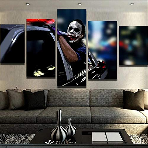 KOPASD Cuadros Modernos Impresión De Imagen Artística Digitalizada   Lienzo Decorativo para Tu Salón O Dormitorio   Joker Freedom   5 Piezas 150X80Cm