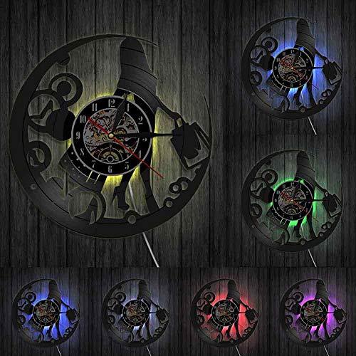 Orologio moderno da donna shopaholic orologio da parete donna shopping vinile orologio da parete record estetista ragazza decorazione della casa orologio moderno