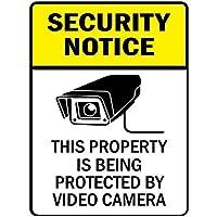 セキュリティに関するお知らせこのプロパティはビデオカメラによって保護されています。金属スズサイン通知道路交通道路危険警告耐久性、防水性、防錆性