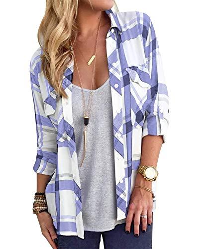 YOINS Damska elegancka bluzka na wiosnę z długim rękawem, dekolt w kształcie litery V, koszulka, top, koszula