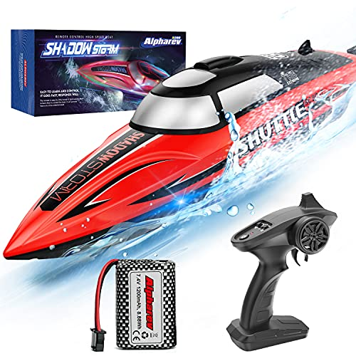 RC Boat-AlphaRev R208 20+ MPH Fast Remote Control Boat with LED Light for Pools and Lakes, 2.4GHz RC Boats with Rechargeable Battery for Adults and Kids