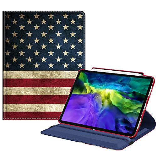 Fintie Case with Built-in Pencil Holder for iPad Pro 11' 2020 & 2018 [Support 2nd Gen Pencil Charging Mode] - 360 Degree Rotating Stand Protective Cover with Auto Sleep/Wake, US Flag