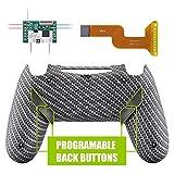 eXtremeRate DAWN Programable Remap Kit Botón de Reasignación para Playstaion 4 con Board de Actuelización&Carcasa Trasera Diseñada&4 Botones Traseros para Control PS4 JDM 040/050/055(Fibra de Carbono)