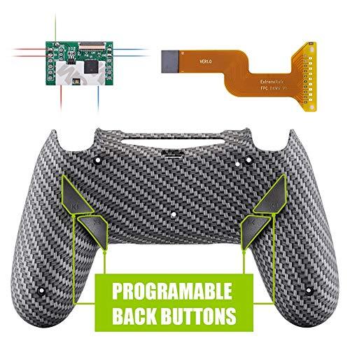 eXtremeRate Dawn Programable Remap Kit Botón de Reasignación para Playstaion 4 con Board de Actuelización&Carcasa Trasera Diseñada&4 Botones Traseros para PS4 Mando JDM 040 050 055(Fibra de Carbono)
