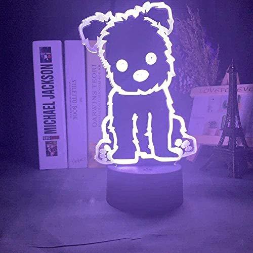 Animales de dibujos animados perro 3D ilusión Lámparas de noche con control remoto, 7 colores interruptor táctil de mesa lámparas de escritorio Navidad juguetes regalos para bebé guardería niño
