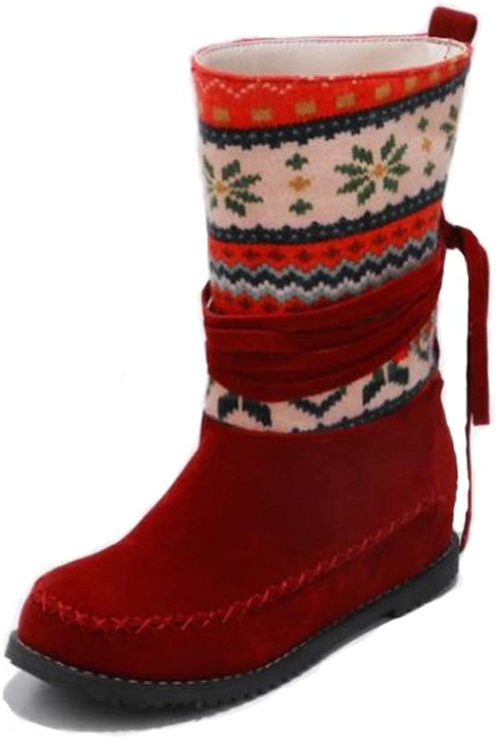 Super frist Christmas Women's Warm Thick Snow Boots Down Fur Lined Winter Boots lace high Heels