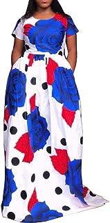 VERWIN Print Short Sleeve Floor-Length High Waist Floral Dress Maxi Dress
