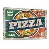 Extra Large Pizza Funny Sign Tin Art Wall Decor, Vintage Aluminum Retro Metal Sign, Iron Painting Vintage Decorative Signs, Coffe Wall Decoration