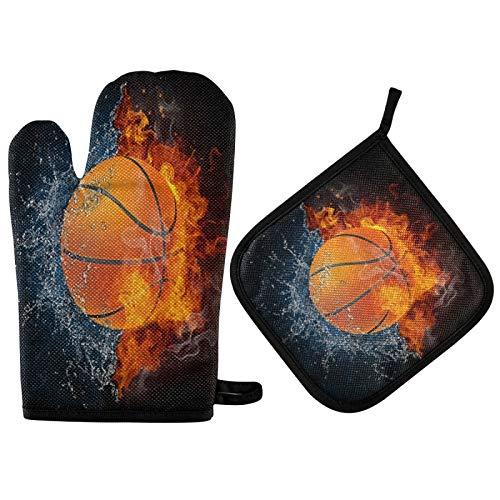 TropicalLife BGIFT Fire Water Sport Baloncesto Mitones para Horno de Baloncesto Juego de Soportes de Olla Resistente al Calor Guantes de Horno Antideslizantes Esteras de Cocina para Barbacoa Parrilla