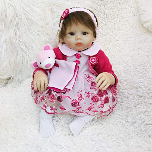 Topkoo 50.8Cm/20Inch Realistic Look Girl Doll Lifelike Reborn Baby Doll - Designed with Acrylic Eyes and Hand Applied Eye Lashes - Great Gift Idea for Children