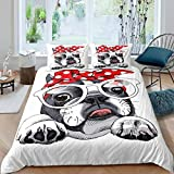 Twin Size French Bulldog Duvet Cover Set for Boys Kids Child Girls Bedroom Cute Dog Comforter Cover Lovely Pet Animals Printed Bedding Set Cartoon Funny Pattern Quilt Cover Decor 2 Pcs