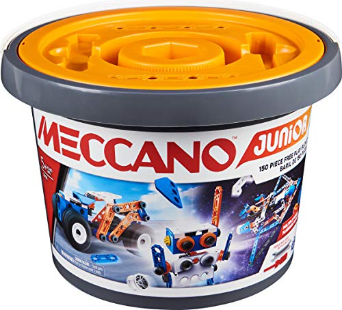 Meccano Junior, 150-Piece Bucket STEAM Model Building Kit for Open-Ended Play, for Kids Aged 5+