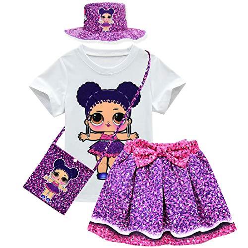 Baby Cute Dolls Konfetti Pop Tshirt + Rock + Tasche + Hut für Mädchen Lil Outrageous Little Girl Dress (style2, 140 (7-8 Jahre))