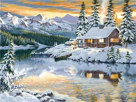 Invierno punto de cruz paisaje bordado de diamantes nieve mosaico de diamantes de imitación decoración del hogar arte pintura de diamantes A7 60x80cm