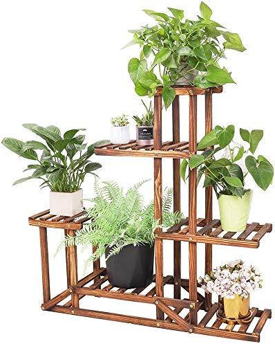 Wisfor Soporte de Madera para Flores Estantería Decorativa de Macetas Plantas para Exterior Interior con 6 estantes 96×95×25cm