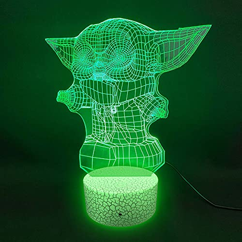 Oh! My Neon 3D Lampara Luces Led RGB Cambia 16 Colores Decorativo Ambiente Control Luz Noche Dormitorio Regalo Infantil Nocturna Baby Yoda ALN00072 (Base 2)