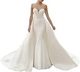 MEGAM Satin Bridal Gowns Plus Size Sweetheart Lace Beach Mermaid Wedding Dress for Bride with Detachable Train