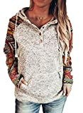 Dokotoo Women's Ladies Winter Fashion Button Collar Ethnic Print Patchwork Color Block Long Sleeve Knit Stitching Drawstring Hoodies & Sweatshirts Women Pullover Casual T Shirts Tops XX-Large