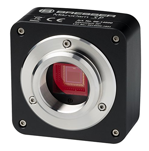 Bresser Mikroskopkamera SP 5MP mit USB 2.0, 2592x1944 Px Auflösung, CMOS Sensor, robustem Metallgehäuse mit C-Mount Gewinde und professioneller Bearbeitungssoftware, schwarz