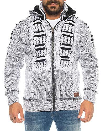 Crazy Age Maglione da uomo con collo alto, slim fit, giacca invernale a maglia grossa, cappuccio rimovibile, maniche lunghe, da uomo, colore nero Bianco (1056). XXXL