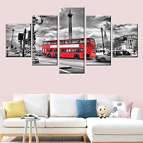 DGGDVP canvas schilderij 5 panelen stad landschap rode bus foto poster HD-druk moderne muurkunst woonkamer slaapkamer decoratie 30x40cmx2 30x60cmx2 30x80cmx1 Geen frame.