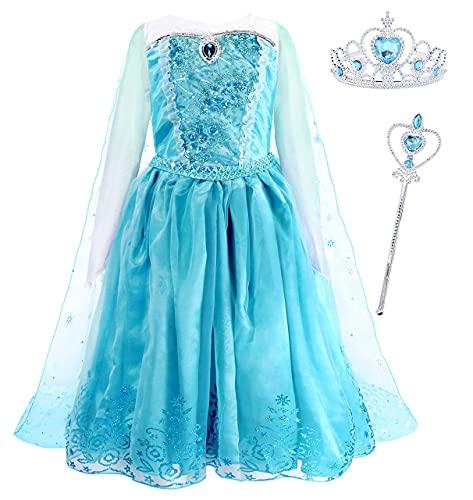 Jurebecia Disfraz Princesa Niñas Cosplay Niña Costumes Falda de Tul Halloween Party Fiesta de Lujo Cumpleaños Princesa Vestidos Edad 9-10 Años Azul