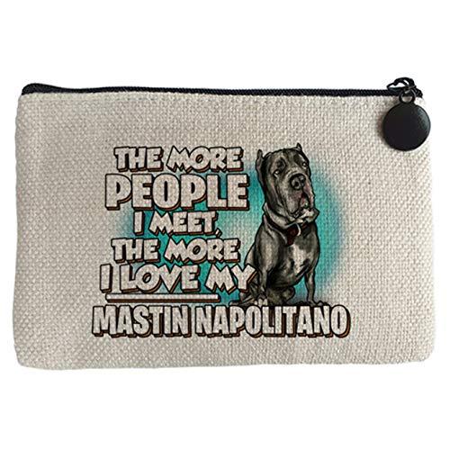 Diver Bebé Monedero I love my Mastín Napolitano raza perro - Beige, 15 x 10 cm