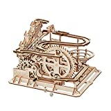 ROBOTIME 3D Wooden Laser-Cut Puzzle DIY Assembly Craft Kits Waterwheel Coaster with Steel Balls Best Birthday