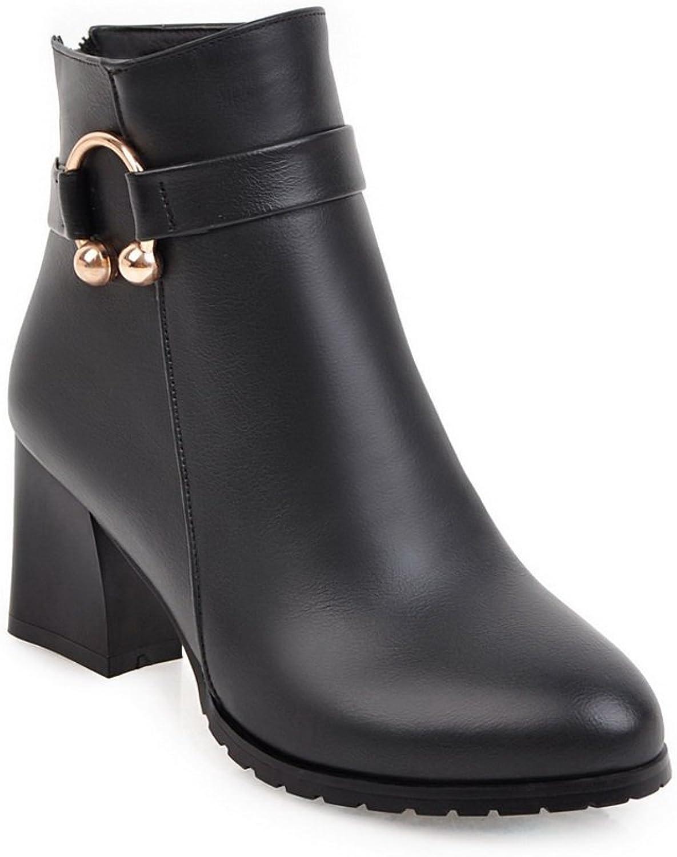 BalaMasa Womens Mid-Heel Zipper Solid Pointed-Toe Square Heels Black Urethane Boots ABL09758 - 6.5 B(M) US