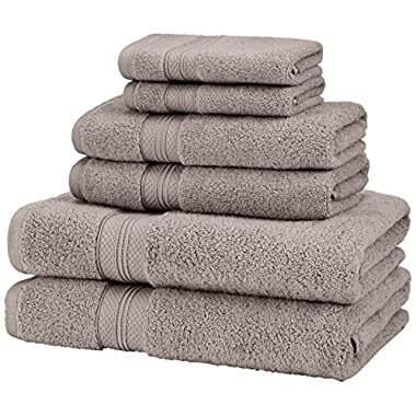 Pinzon Low Twist Pima Cotton 650-Gram 6-Piece Towel Set, Platinum