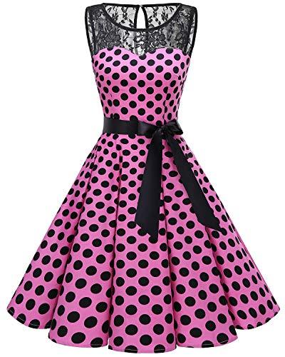 bbonlinedress 1950er Ärmellos Vintage Retro Spitzenkleid Rundhals Abendkleid Pink Black BDot M