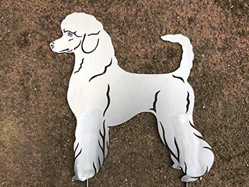 Pudel Königspudel Rüde Hündin lebensechter Hund Neu Dekoration Garten Figur Weiß