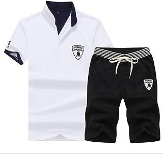 Mogogo Men's Embroidery V Neck Pocketed Drawstring Stripes T-Shirt Shorts Sets