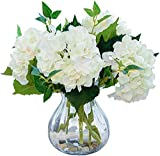 Paquete de 4 Ramos de Flores de hortensias Artificiales, Flores de hortensias de Seda Blanca sintética con Tallos y Hojas para centros de Mesa de Boda, decoración de Fiesta en el hogar