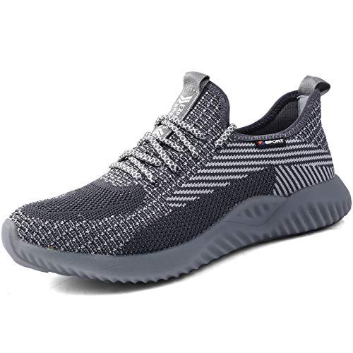 UCAYALI Zapatillas de Seguridad Hombre Calzado de Trabajo Cómodo Zapatos de Seguridad con Punta de Acero Zapatos Protección Deportivos Gris cadete Gr.43