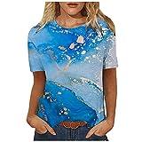 Fascino-M Women's T-Shirt, Summer Rundhals Basic Short Sleeve Shirts, Loose Blouse Tops Print Tee...